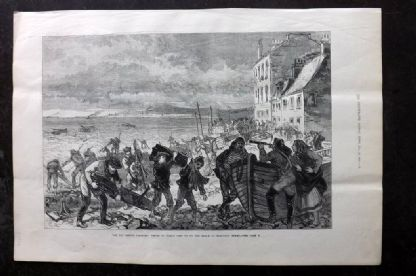 ILN 1880 Antique Print The Tay Bridge Disaster: Pieces of Wreck Cast up on Beach
